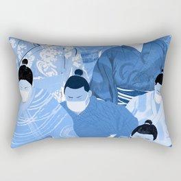 Sumos in Masks Indigo Rectangular Pillow