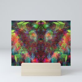 Butterfly Block Face (Burgundy) (abstract, psychedelic, visionary) Mini Art Print