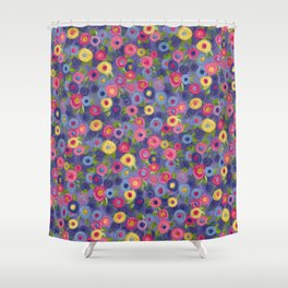 Rose Garden painting pink purple blue yellow green roses leaves Shower Curtain