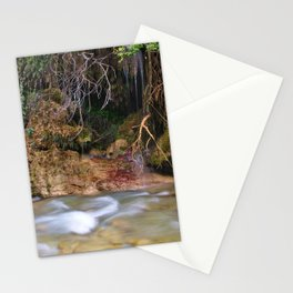 Water flow detail wet rocks and small waterfalls, in Neda river, Peloponnese, Greece. Stationery Cards