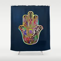 hamsa Shower Curtains featuring Hamsa 4 by Klara Acel