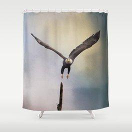 Lift Off - Bald Eagle Shower Curtain