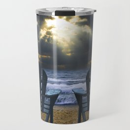 Two Adirondack Deck Chairs on the Beach with Waves crashing on the Shore Travel Mug