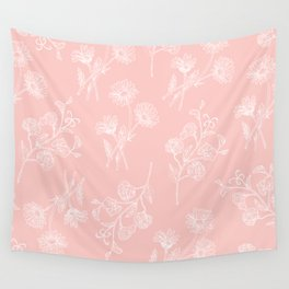 Pink Daisy & Sweet Pea Wall Tapestry