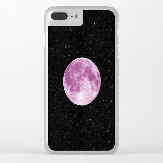 Pink moon Clear iPhone Case