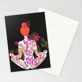 flower meditation on black background Stationery Cards