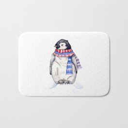 Baby Penguin in Red and Blue Scarf. Winter Season Bath Mat