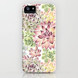 Bright Watercolor Succulents iPhone Case