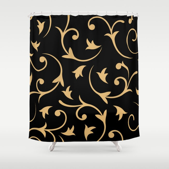 Baroque Design Gold On Black Shower Curtain By Nataliepaskell
