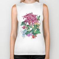 oriental Biker Tanks featuring Oriental Flowers by Chicca Besso