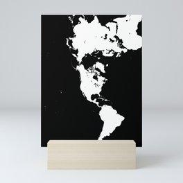 Dymaxion World Map (Fuller Projection Map) - Minimalist White on Black Mini Art Print