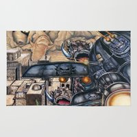 aliens Area & Throw Rugs featuring Aliens attack. by Stanley Lehman