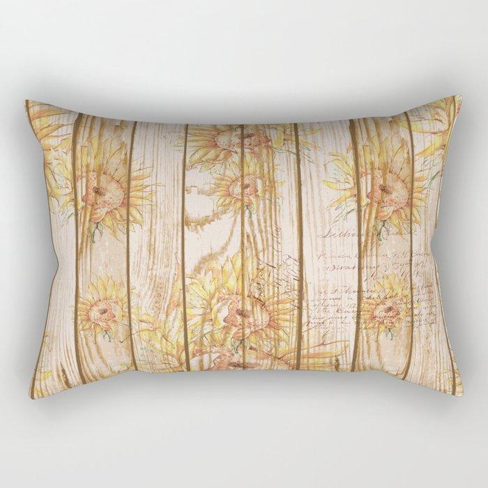 Vintage Sunflowers #9 Rectangular Pillow