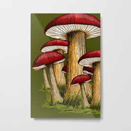 Red and Olive Army Green Mushrooms Metal Print