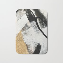 Armor [9]: a minimal abstract piece in black white and gold by Alyssa Hamilton Art Bath Mat