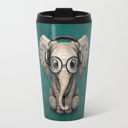 Cute Baby Elephant Dj Wearing Headphones and Glasses on Blue Travel Mug