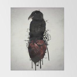 Raven and Heart Grenade Throw Blanket