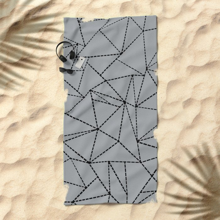 Ab Dotted Lines B on Grey Beach Towel