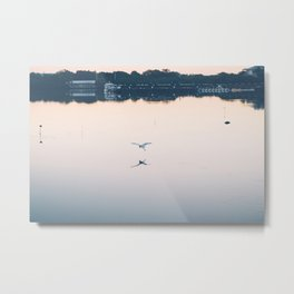 A Bird Fishing at Sunset 3 Metal Print