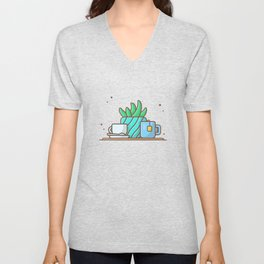 Hot tea with plant and hot coffee Unisex V-Neck