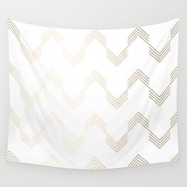 Simply Deconstructed Chevron White Gold Sands on White Wall Tapestry