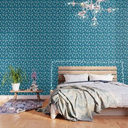 Aqua Blue Magical Cat Mermaid Swimming Pattern Wallpaper