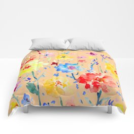 Watercolor Decorative Poppy Orange Background Comforters