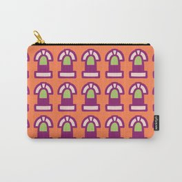 New York Windows Pattern 261 Orange Raspberry and Green Carry-All Pouch