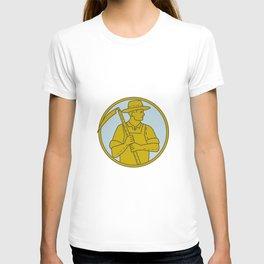 Organic Farmer Scythe Looking Side Circle Mono Line T-shirt