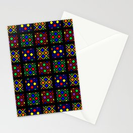 Kente Cloth Ankara Stained Glass Pattern Stationery Cards