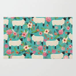 Suffolk Sheep farm floral cute animals sheep lover nature florals pattern homestead gifts Rug