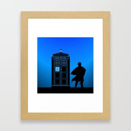 Tardis With The Third Doctor Framed Art Print