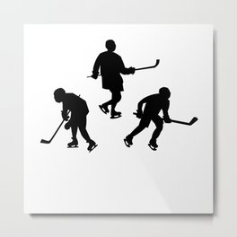 Ice hockey stick player silhouette cool sport gift Metal Print
