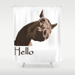 funny horse hello Shower Curtain
