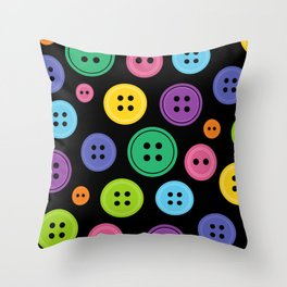 Colorful Rainbow Buttons Throw Pillow