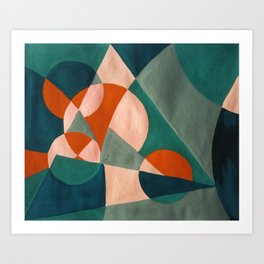 The Sunset & The Mountains Retro Abstract Art - Teal & Burnt Sienna Art Print