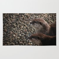 otters Area & Throw Rugs featuring Pair of Otters by Eleven Collective