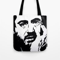 robert downey jr Tote Bags featuring Robert Downey Jr by Olivia Iman