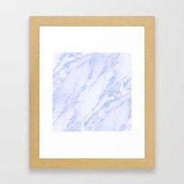 Blue Marble - Shimmery Glittery Cornflower Sky Blue Marble Metallic Framed Art Print