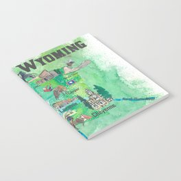 USA Wyoming State Illustrated Travel Poster Favorite Map Notebook