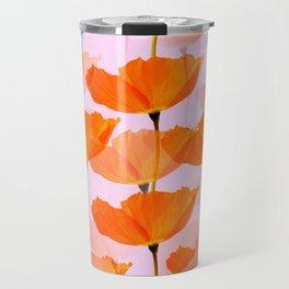 Orange Poppies On A Pink Background #decor #society6 #buyart Travel Mug