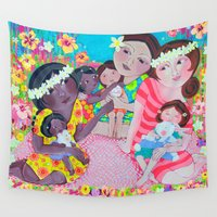 hawaiian Wall Tapestries featuring Hawaiian Sisterhood by Honouring Women by Jazmin Sasky