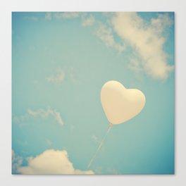 Nostalgic Love, Vintage Heart Balloon  Canvas Print