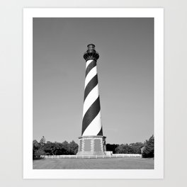 Cape Hatteras Lighthouse Outer Banks Black and White Art Print