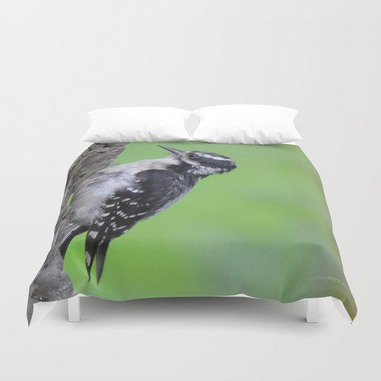 Downy Woodpecker! Duvet Cover