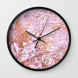 Abstract Autumn In Gold-Rosé Wall Clock