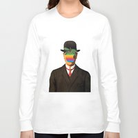 magritte Long Sleeve T-shirts featuring Son of Apple Parody René Magritte by eatpersonality