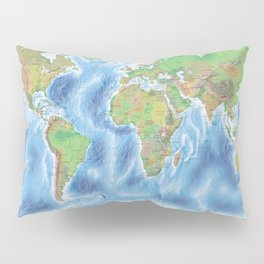 Physical world map with countries Pillow Sham