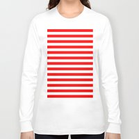 stripes Long Sleeve T-shirts featuring Horizontal Stripes (Red/White) by 10813 Apparel