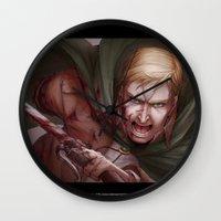 shingeki no kyojin Wall Clocks featuring Shingeki no Kyojin - Erwin Smith by Paleblood